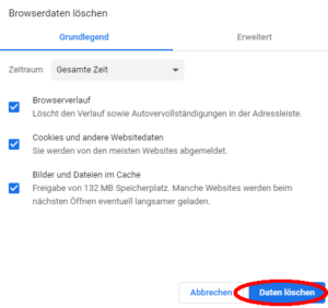 Screenshot Cookies löschen Chrome