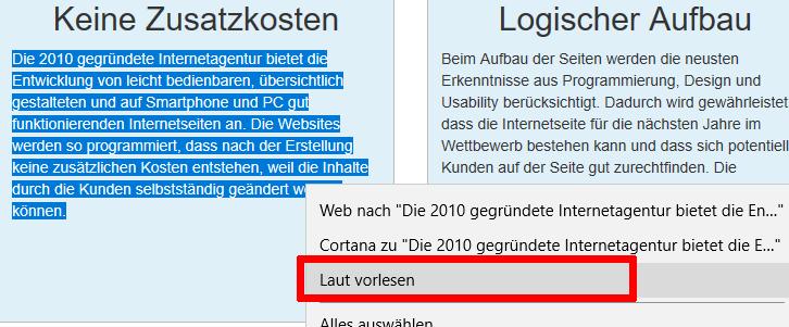 Edge Browser Laut vorlesen