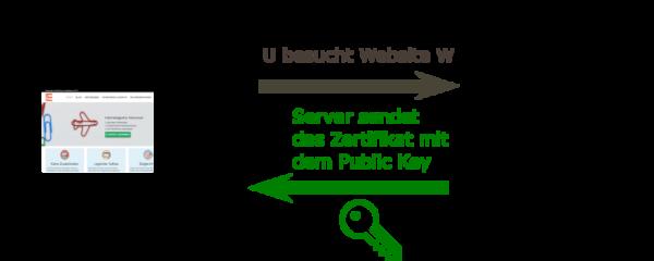Infografik Server übermittelt Public Key